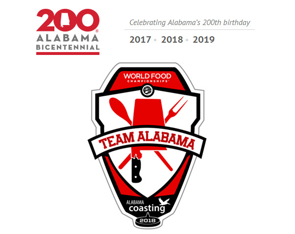 Logos for WFC Team Alabama and for the Alabama Bicentennial Celebration