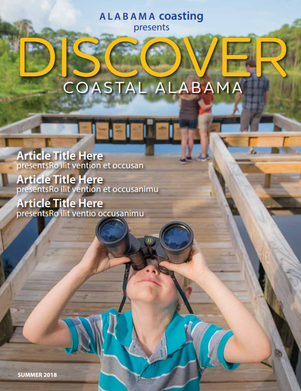 magazine cover for Discover Coastal Alabama featuring young boy outdoors with binoculars